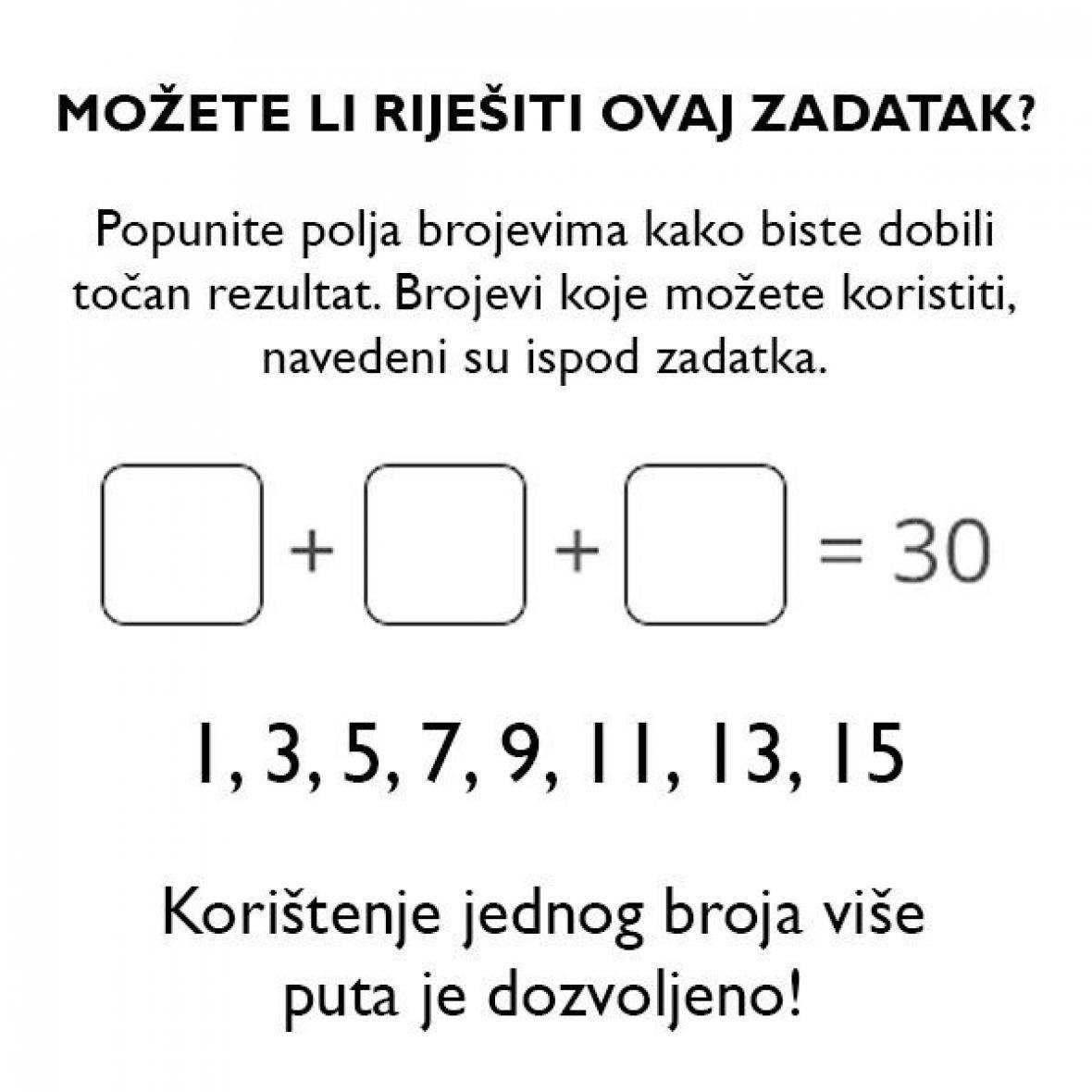Možete li riješiti ovaj zadatak?