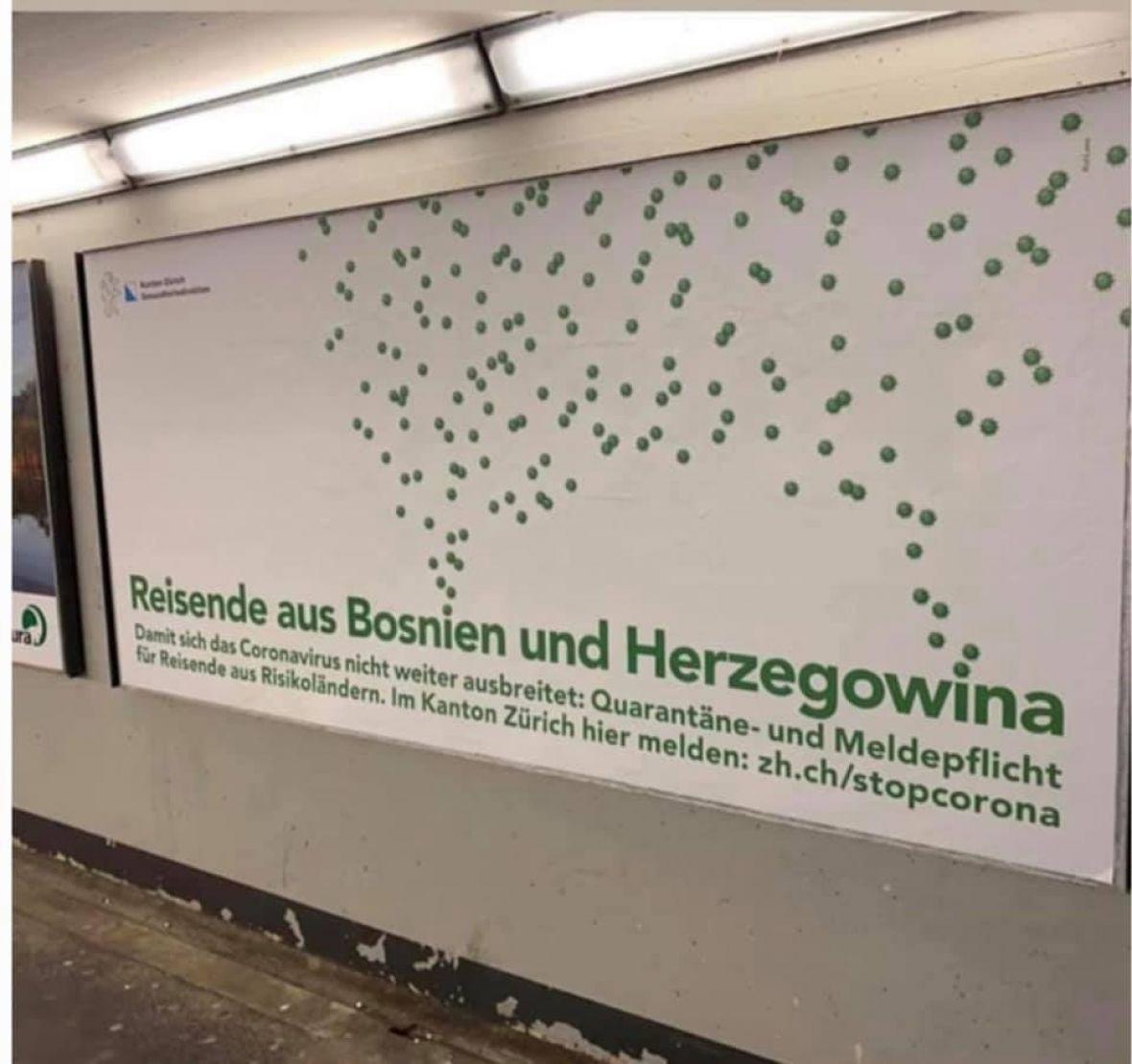 """Plakati u Švicarskoj o """"zemlji rizika"""": Bosanci i Hercegovci, prvo u karantin!"""