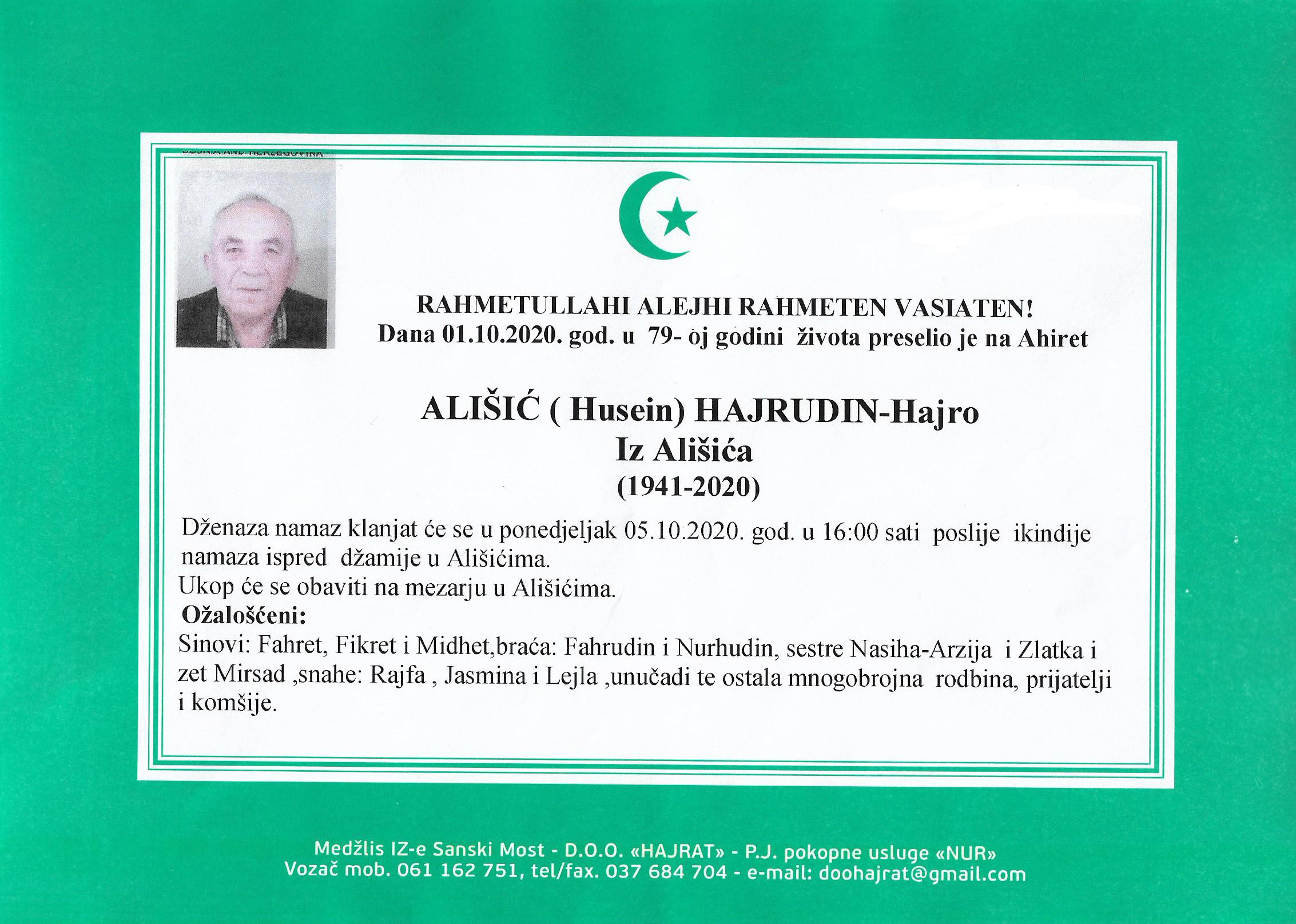 ALIŠIĆ (Husein) HAJRUDIN – Hajro