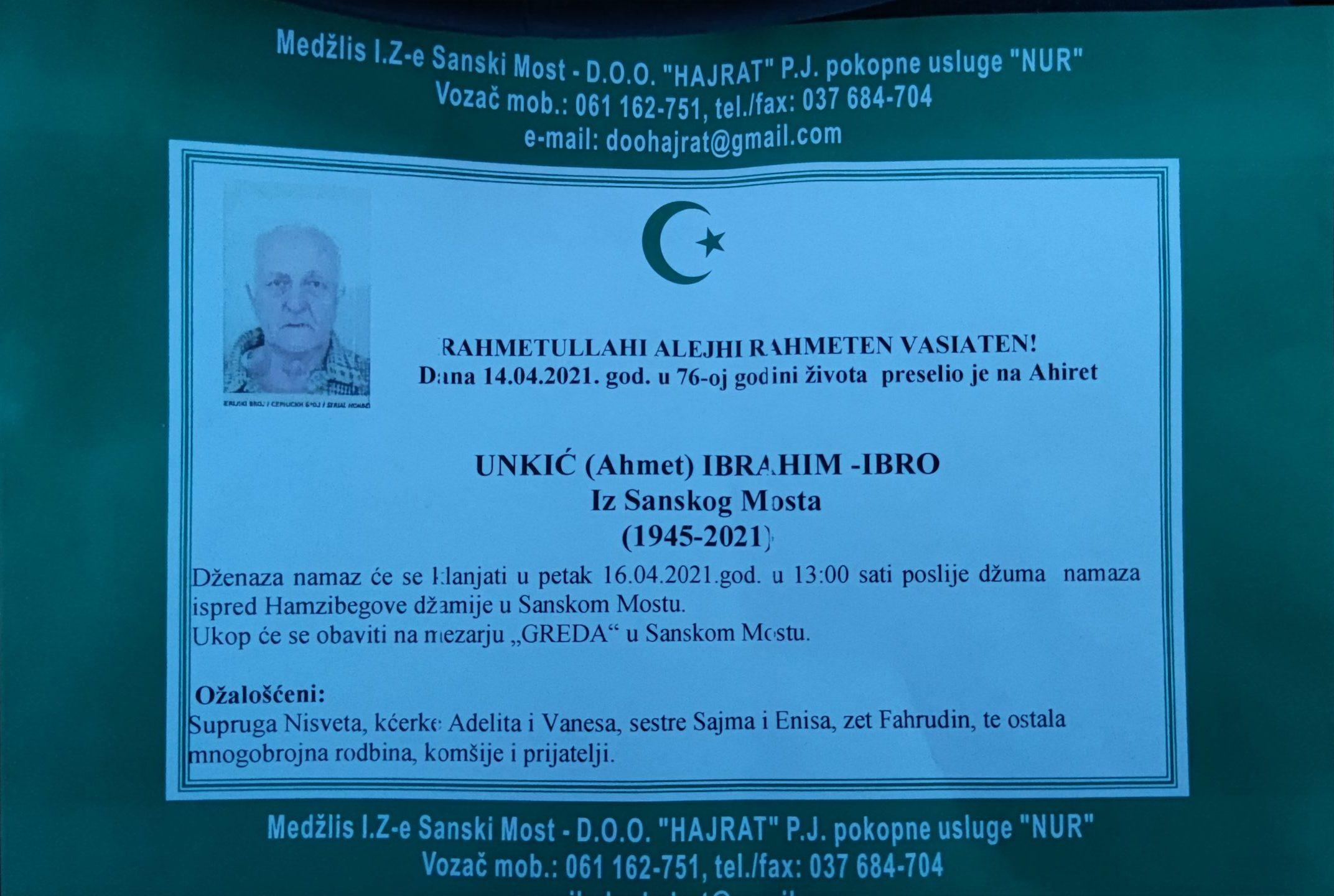 IBRAHIM (Ahmet) UNKIĆ – IBRO