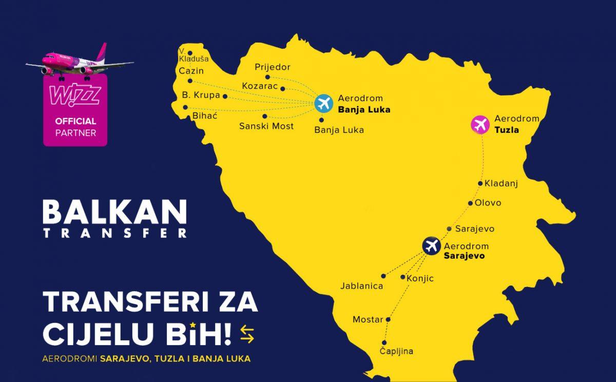 Prevoz uz letove WizzAira i RyanAira sa Aerodroma Banja Luka do Sanskog Mosta i Krajine